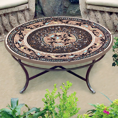 Provence Mosaic Coffee Table-Iron Accents