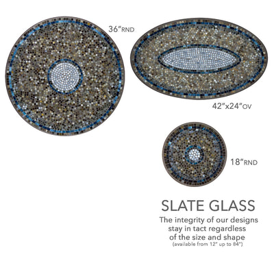 Slate Glass Mosaic Table Tops-Iron Accents