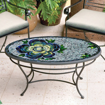 Giovella Mosaic Coffee Table - Oval-Iron Accents