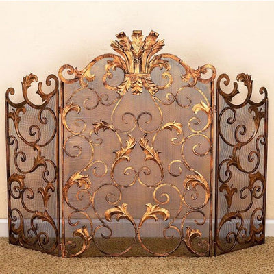 Acanthus Leaf Fire Screen-Iron Accents