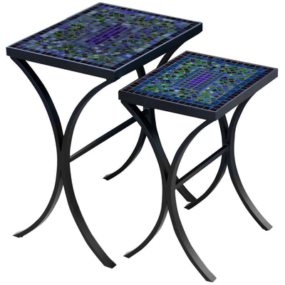 Opal Glass Mosaic Nesting Tables-Iron Accents