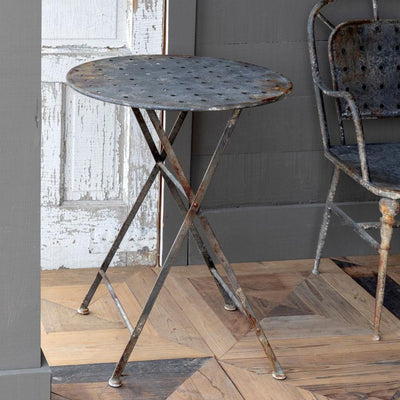 Aged Black Round Cafe Table | Iron Accents