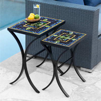 Lake Como Mosaic Nesting Tables-Iron Accents