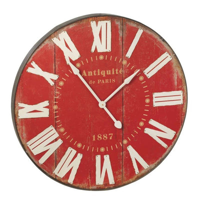 Big Red Wall Clock | Iron Accents