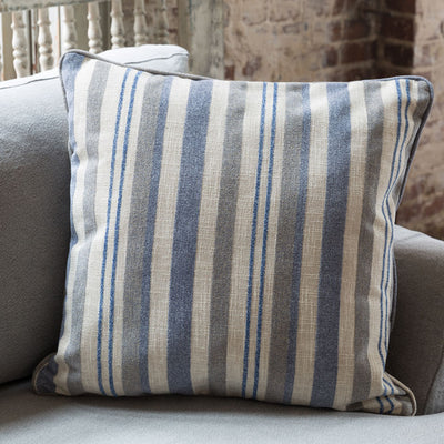 Blue Awning Stripe Throw Pillow (Set-2) | Iron Accents