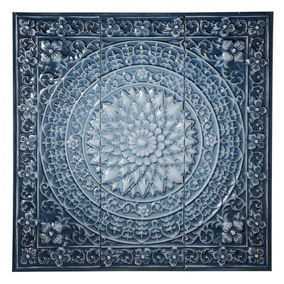 Blue Ombre Medallion Wall Decor | Iron Accents