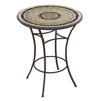 Slate Stone Mosaic High Dining Table-Iron Accents