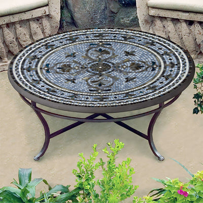 Roma Mosaic Coffee Table-Iron Accents
