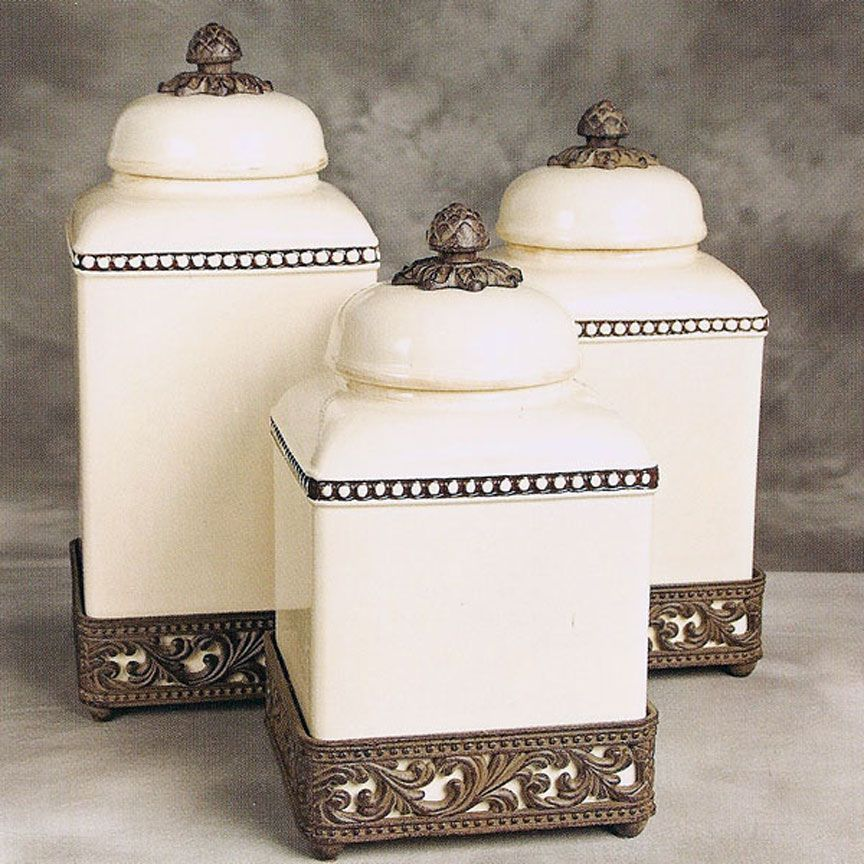 Gg Collection Acanthus Canisters Iron Accents