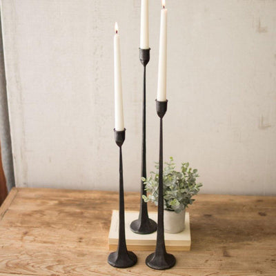 Cast Iron Tapers (Set-3)-Lighting | Iron Accents