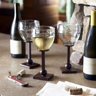 Castilian Hammered Wine Glass | Iron Accents