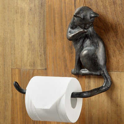 Cat Tissue/Towel Holder-Iron Accents