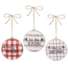 Red & White Check Ornaments (Set-3)