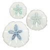 Blue Ombre Sand Dollar Wall Plaques (Set-3)-Iron Accents