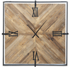 Wood & Metal Wall Clock-Iron Accents