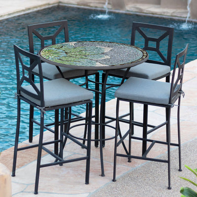 Lovina Mosaic High Dining Table-Iron Accents