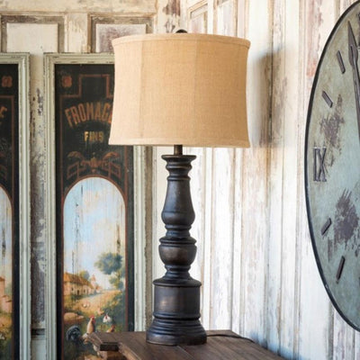 Coal Pillar Lamp | Iron Accents