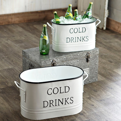 Enamel Beverage Tubs (Set-2) | Iron Accents