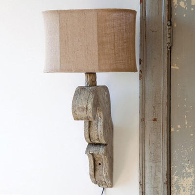 Antique Gray Corbel Lamp-Iron Accents
