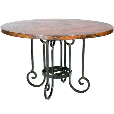 Curled Leg Round Dining Table with Copper Top