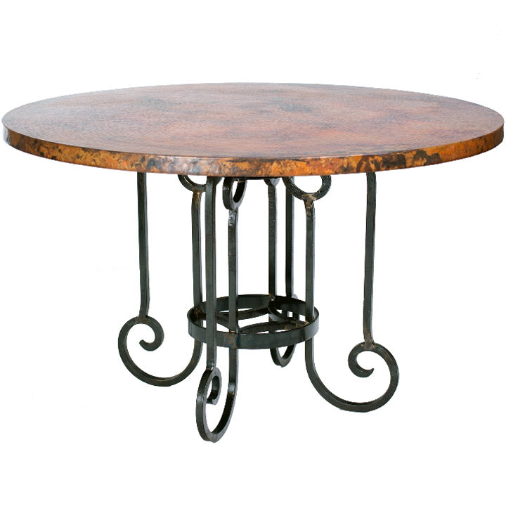 Curled Leg Round Dining Table Base For 48 60 Tops Iron Accents