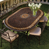 Mahogany Atlas Mosaic Oval Bistro-Iron Accents