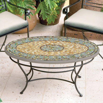 Malibu Mosaic Coffee Table - Oval-Iron Accents
