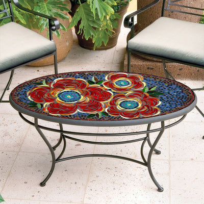Zinnia Mosaic Coffee Table - Oval-Iron Accents
