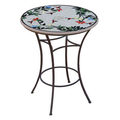 Hummingbird Mosaic High Dining Table-Iron Accents