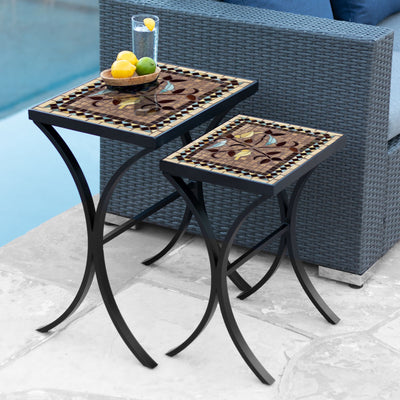 Provence Mosaic Nesting Tables-Iron Accents