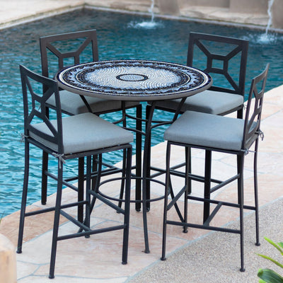 Navagio Mosaic High Dining Table-Iron Accents