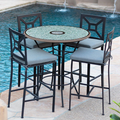 Jade Glass Mosaic High Dining Table-Iron Accents