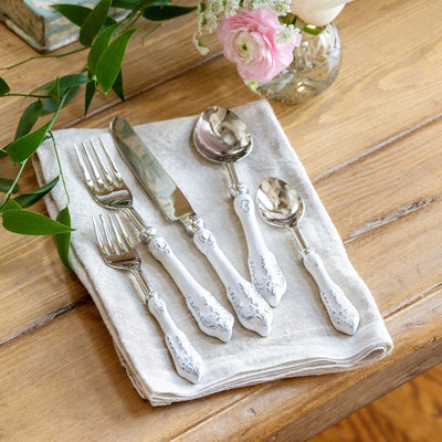 Embossed Enamel Flatware (5-pc)-Tableware | Iron Accents