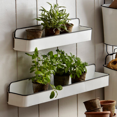 Enamel Wall Shelf (Set-2) | Iron Accents