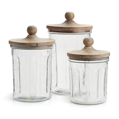 Glass Canisters w/ Lids (Set-3)-Iron Accents