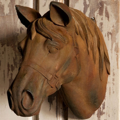 Small Stone Horse Head | Iron Accents