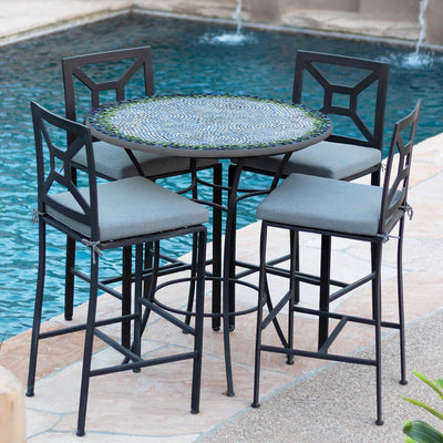 Belize Mosaic High Dining Table-Iron Accents