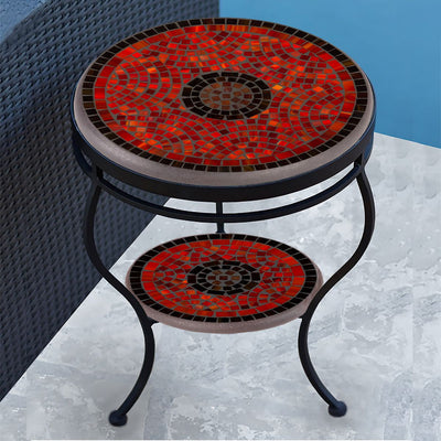 Ruby Glass Mosaic Side Table - Tiered-Iron Accents