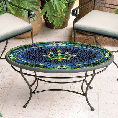 Lake Como Mosaic Coffee Table - Oval-Iron Accents