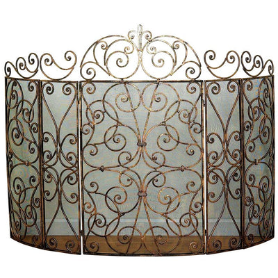 Five Panel Scroll Fire Screen