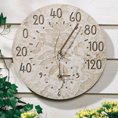 Pressed Leaf  Thermometer Clock | iron Accents