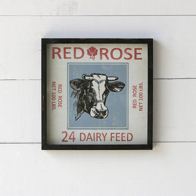 Framed Feedsack Dairy Feed | Iron Accents