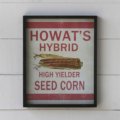 Framed Feedsack Howes's Corn | Iron Accents