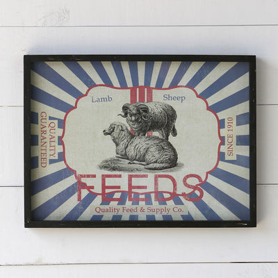 Framed Feedsack Sheep Feed | Iron Accents