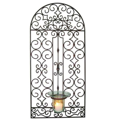 Garden Gate Hurricane Holder-Iron Accents