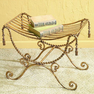Iron Bench w/Swag & Tassel-Iron Accents