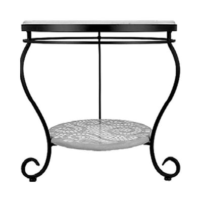 "Iron & Mosaic End Table - 24""-Iron Accents"