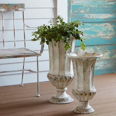 Ivory Urn Planter (Set-2) | Iron Accents