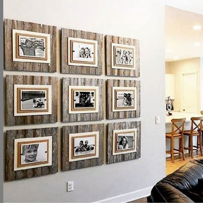 Reclaimed Wood & Burlap Frame - Large