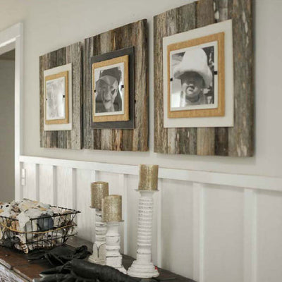 Large Wood Frame - Aged/Burlap | Iron Accents